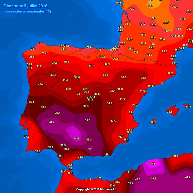 Najviša dnevna temperatura u nedjelju u Španjolskoj; meteociel.fr