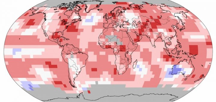 Odstupanje globalne temperature u rujnu 2016.; NOAA